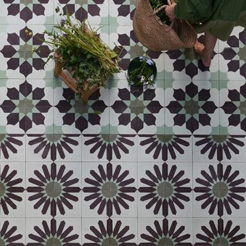 carreaux fleur vert