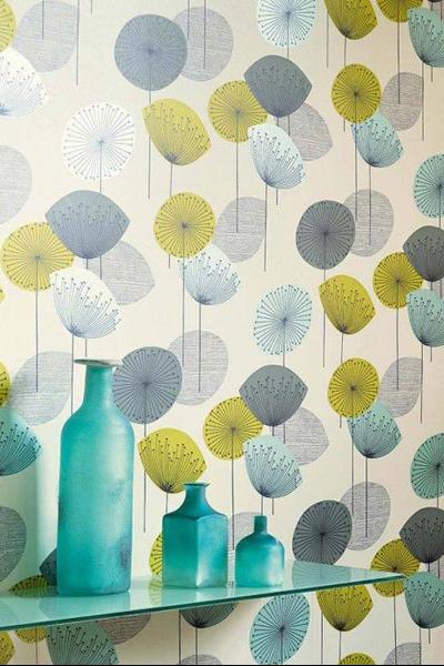 papier peint fleuri vert